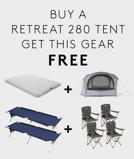 Buy a Retreat 280 Tent & get 2 x Retreat Single Camp Beds + Roamer Double Airbed + Retreat Dayroom v2 + 4 x Roamer Chairs FREE