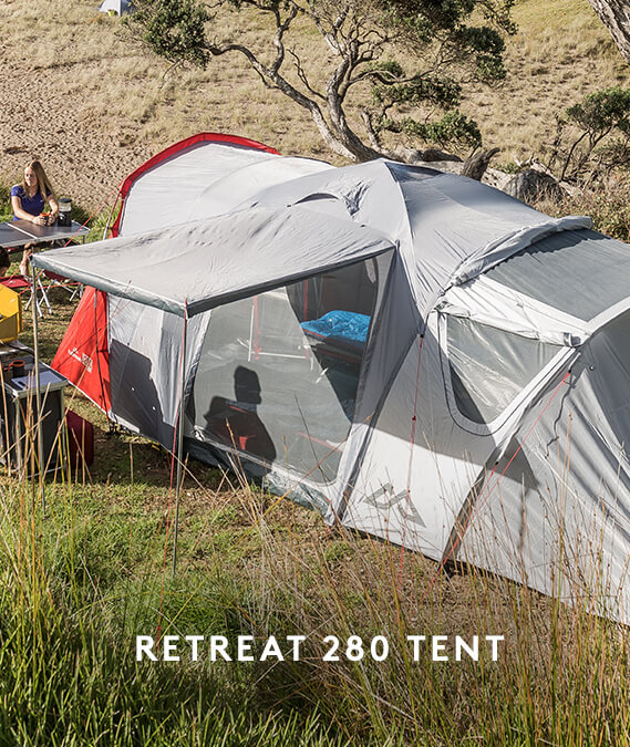Buy a Retreat 280 Tent & get 2 x Retreat Single Camp Beds + Roamer Double Airbed + Retreat Dayroom v2 + 4 x Roamer Chairs FREE.