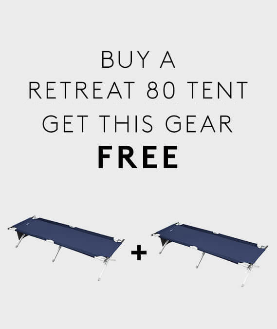 Buy a Retreat 80 Tent & get 2 x Retreat Single Camp Beds FREE.